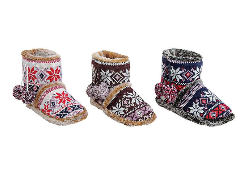 dámské pletené papuče 37/38-41/42 26x17x12 cm - 3 druhy