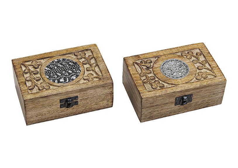dřevěná šperkovnice INDIA 15x6x10 cm - 2 druhy