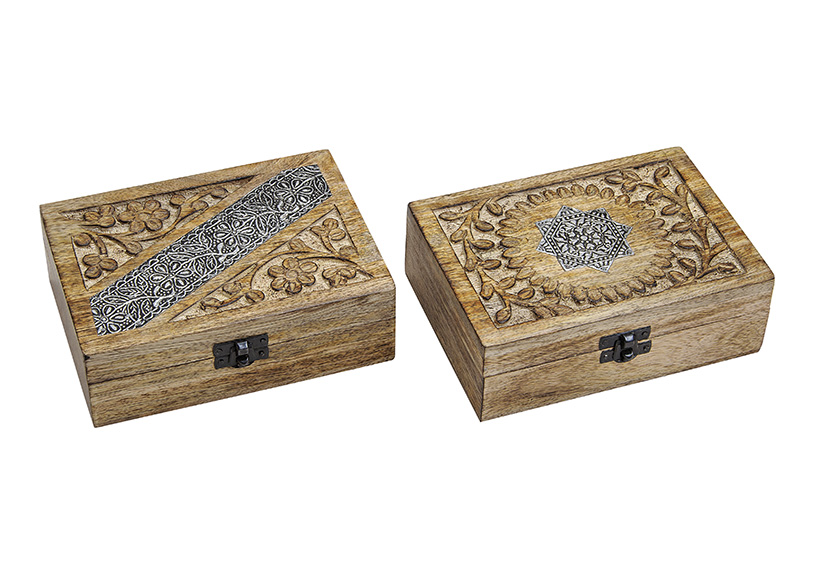 dřevěné šperkovnice INDIA 17x6x13 cm - 2 druhy