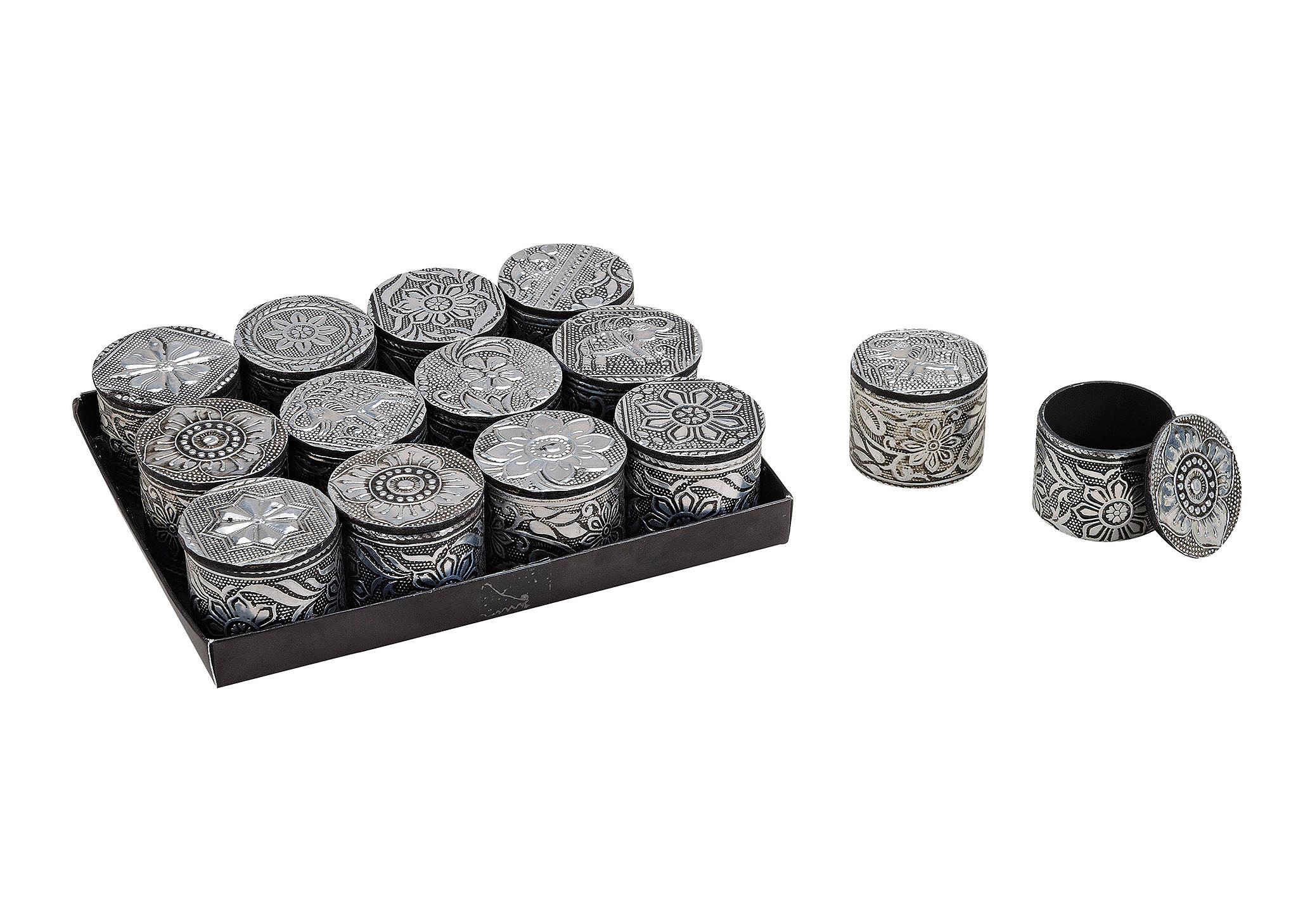 šperkovnice ORIENTAL 4x5 cm, kov a plast - 12 druhů