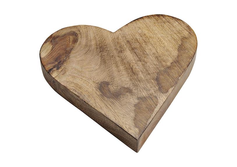 srdce z mangového dřeva 26x3x26 cm