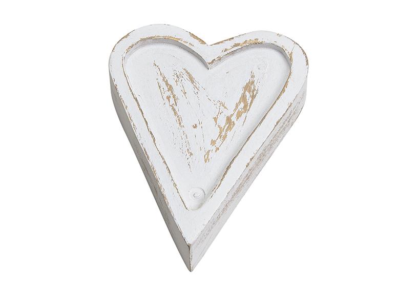 dřevěné srdce WHITE 13x3x19 cm