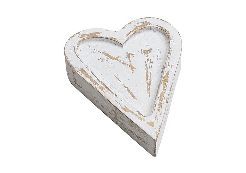 dřevěné srdce WHITE 11x3x14 cm