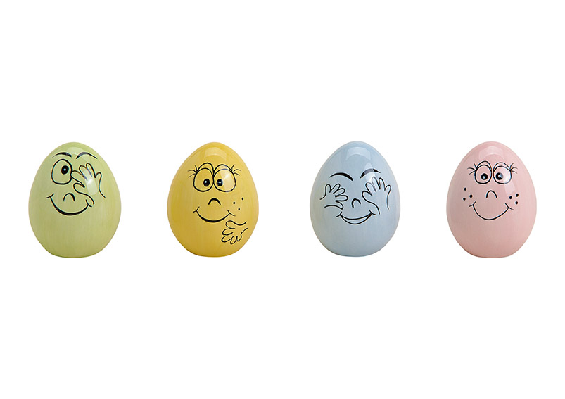 keramické vajíčko WITH FACE 4x5x4 cm - 4 druhy