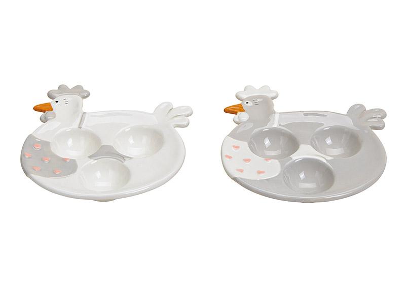 keramická miska na vajíčka CHICKEN 17x3x15 cm - 2 druhy