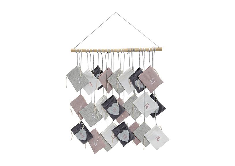 adventní kalendář 52x55 cm, textil a dřevo