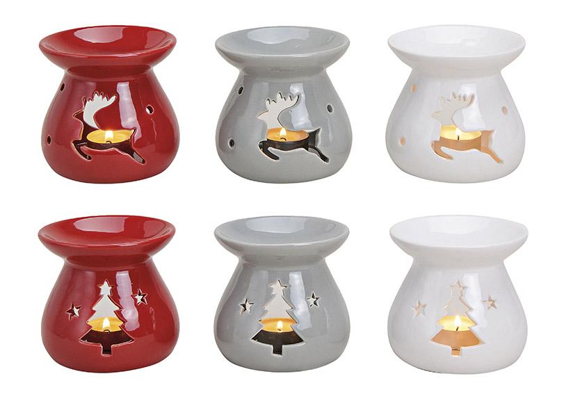 Fragrance Burner ceramic, 6-assorted, Tree/Moose 10X10 CM}
