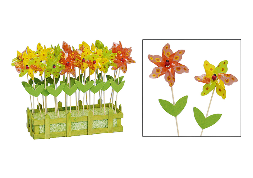 zápich do květináče WINDMILL 27 cm - 24 kusů, plast a dřevo