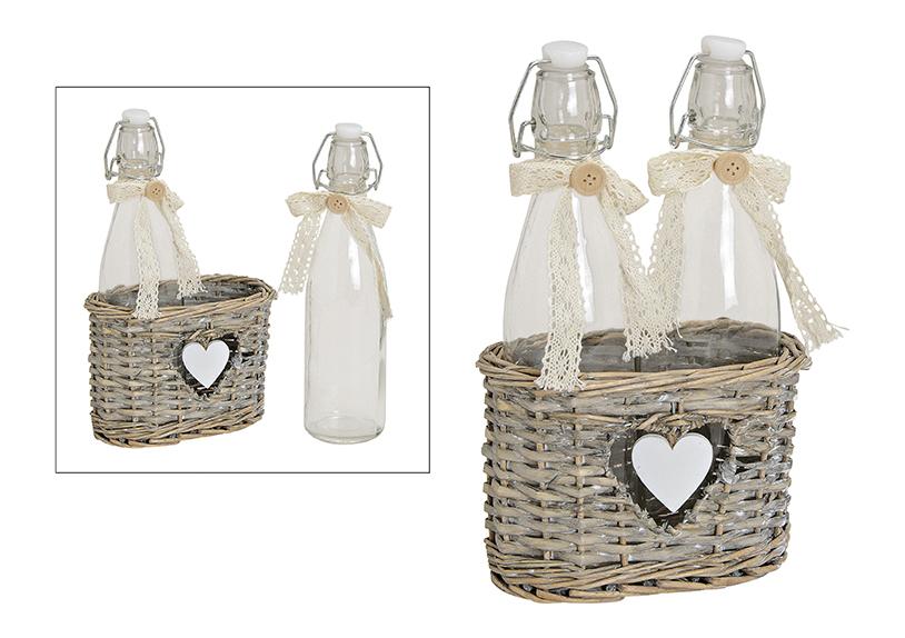 dvě lahve s patentním uzávěrem v košíku HEART 19x10x28 cm, ratan a sklo