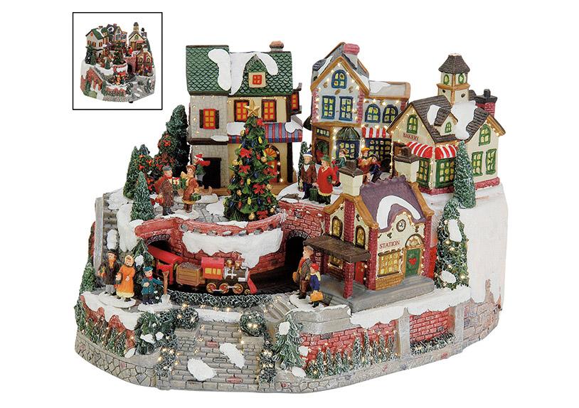 zimní vesnická scéna s osvětlením a hudbou 24x24x22 cm, polyresin