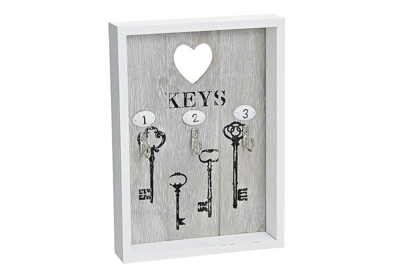 nástěnná klíčenka 18x3x24 cm, dřevo