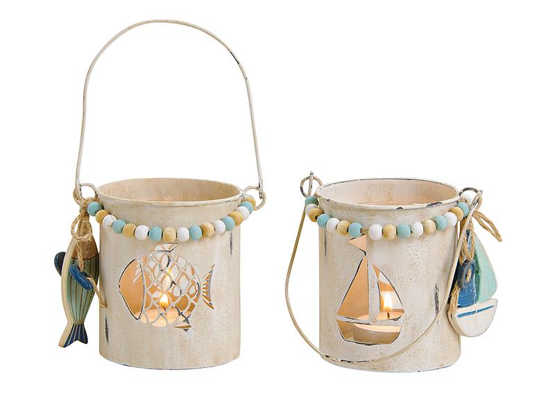 dvě lucerny na čajovou svíčku 10x9x10 cm, kov a sklo