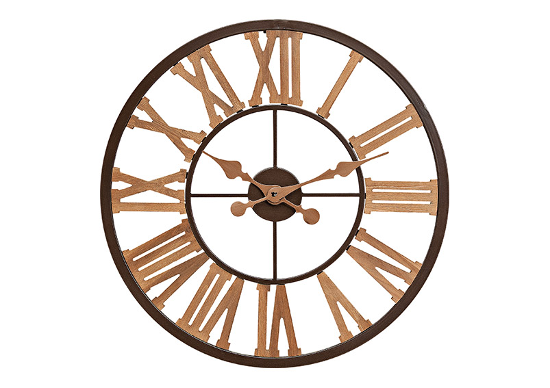 nástěnné hodiny BROWN 60x5 cm, kov a dřevo