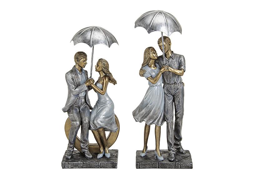 zamilovaný pár pod deštníkem 11x9x26 cm - 2 druhy, polyresin