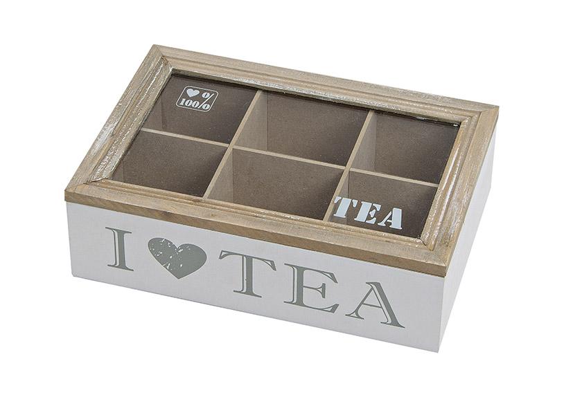 krabička na čajové sáčky I LOVE TEA 23x15x7 cm, dřevo a sklo