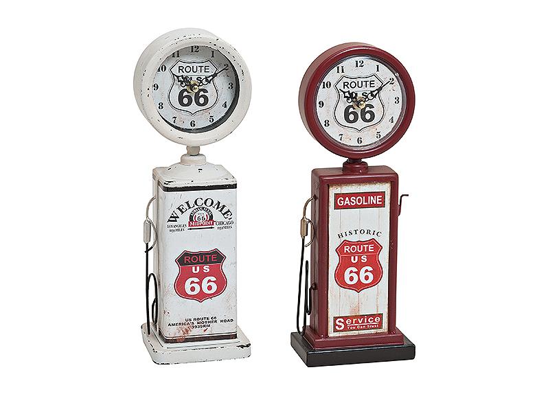 stolní hodiny GASOLINE PUMP 12x7x34 cm, kov a plast - 2 druhy