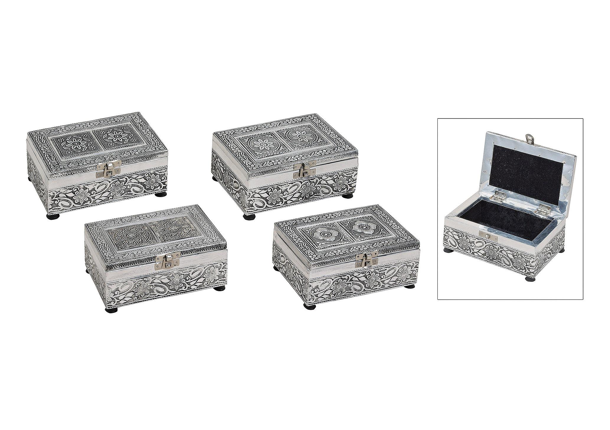 šperkovnice ORIENTAL 15x10x7 cm, kov - 4 druhy