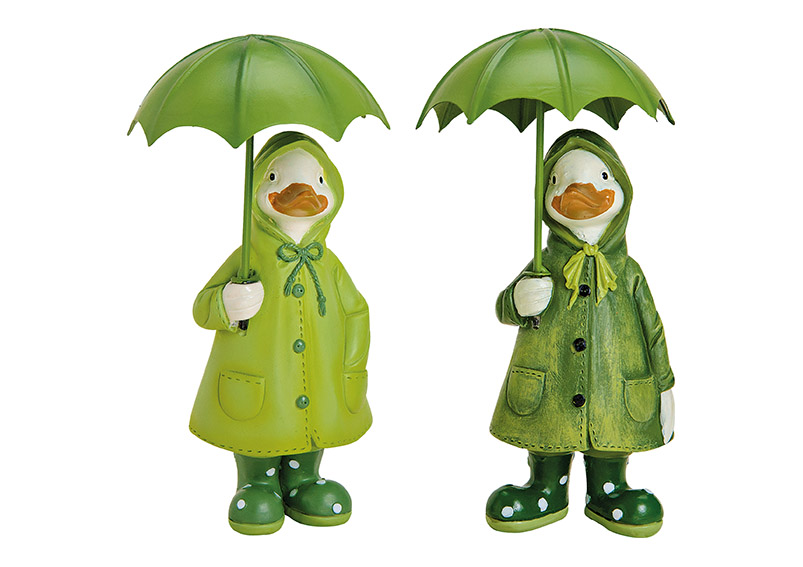 Duck, polyresin, with umbrella metal, green, a2 assorted (W/H/D) 7x15x6cm