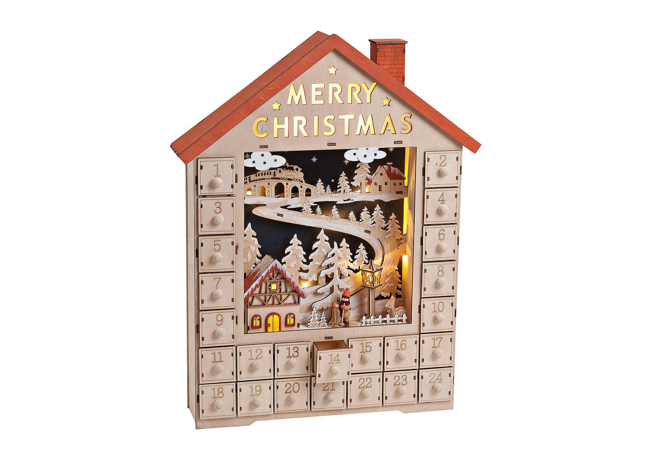 adventní kalendář s LED osvětlením 38x9x49 cm, dřevo
