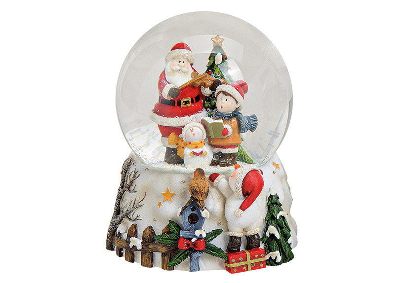 music box sněžítko SANTA 11x13x11 cm, polyresin a sklo