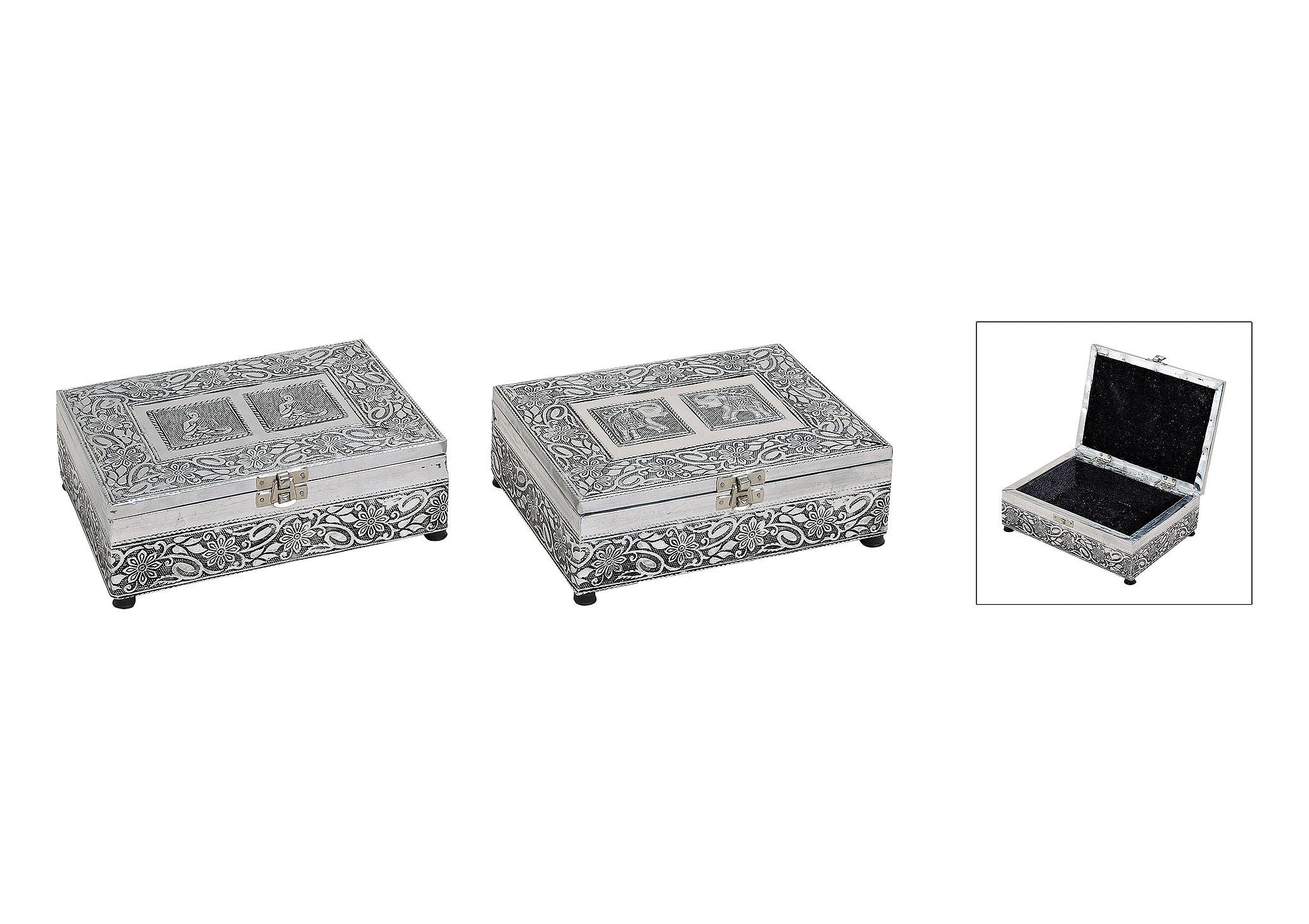 šperkovnice ORIENTAL 20x15x7 cm, kov a dřevo - 2 druhy