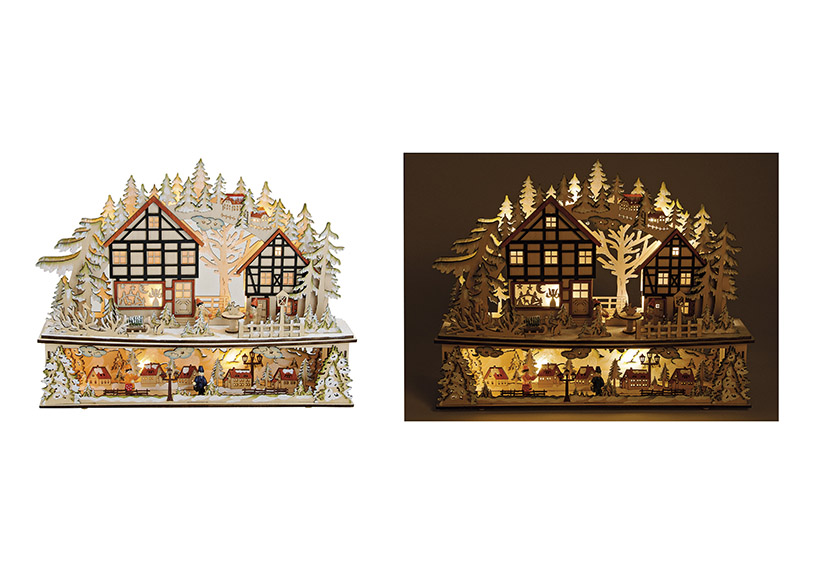 WINTER SCENE WITH LED LIGHTING WOOD 45X10X38 CM