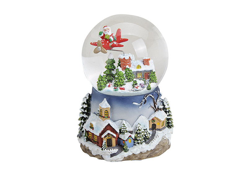 music box sněžítko 15x12x15 cm, polyresin a sklo