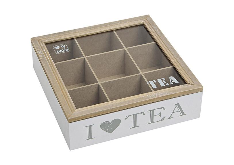 krabička na čajové sáčky I LOVE TEA 24x24x7 cm, dřevo a sklo