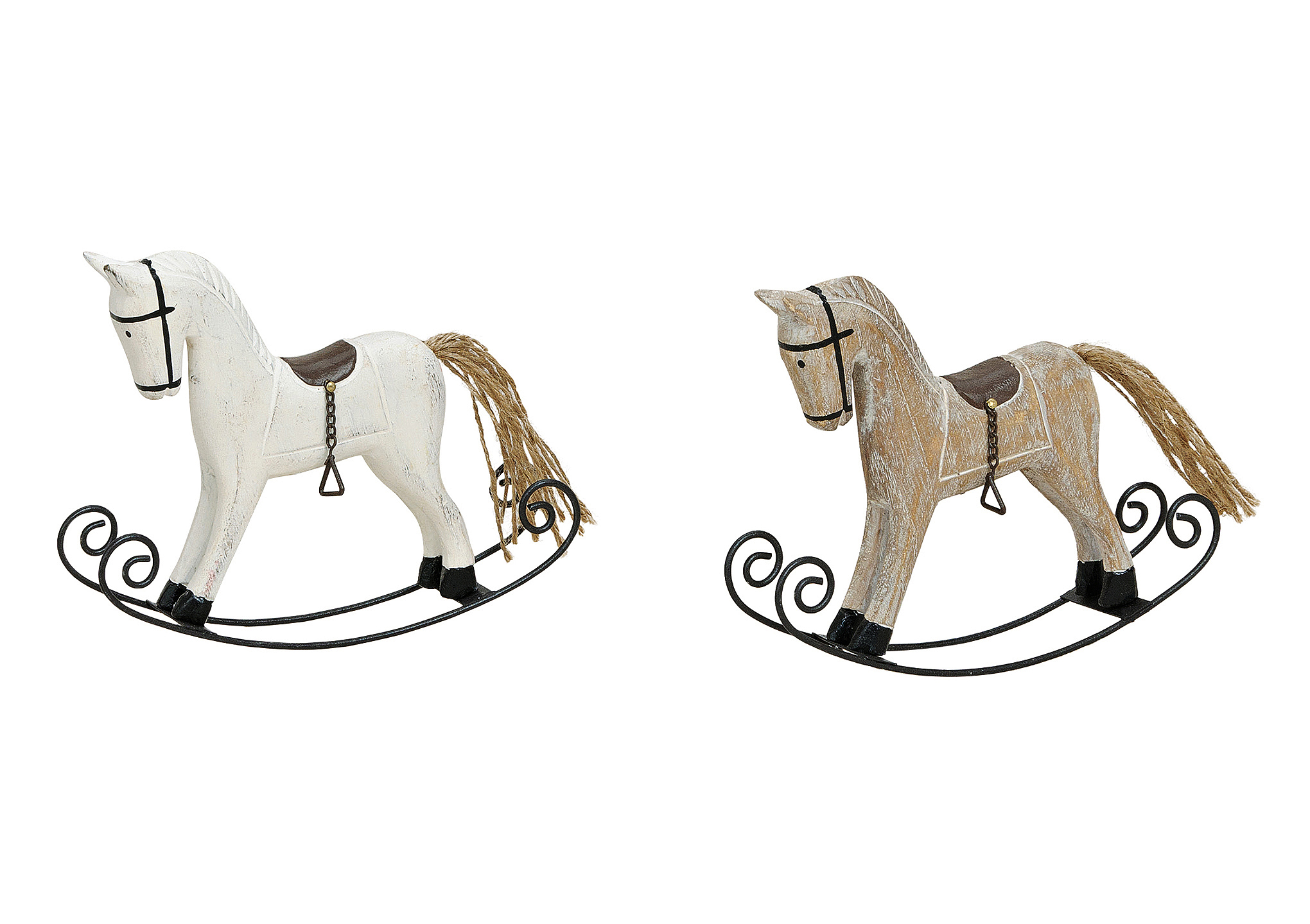 ROCKING HORSE METAL/WOOD 2-ASS .16X3X12CM