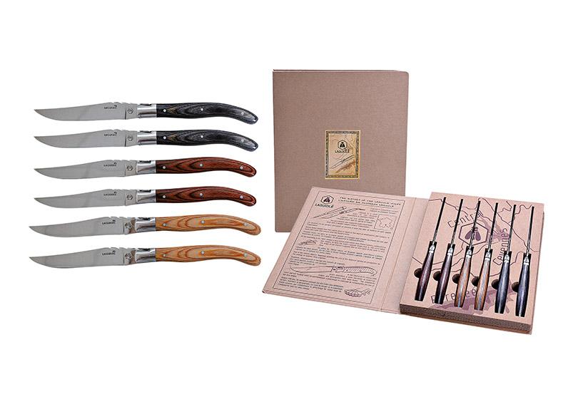 sada šesti steakových nožů LAGUIOLE 2x22x2 cm v dárkové krabičce, nerezová ocel a dřevo