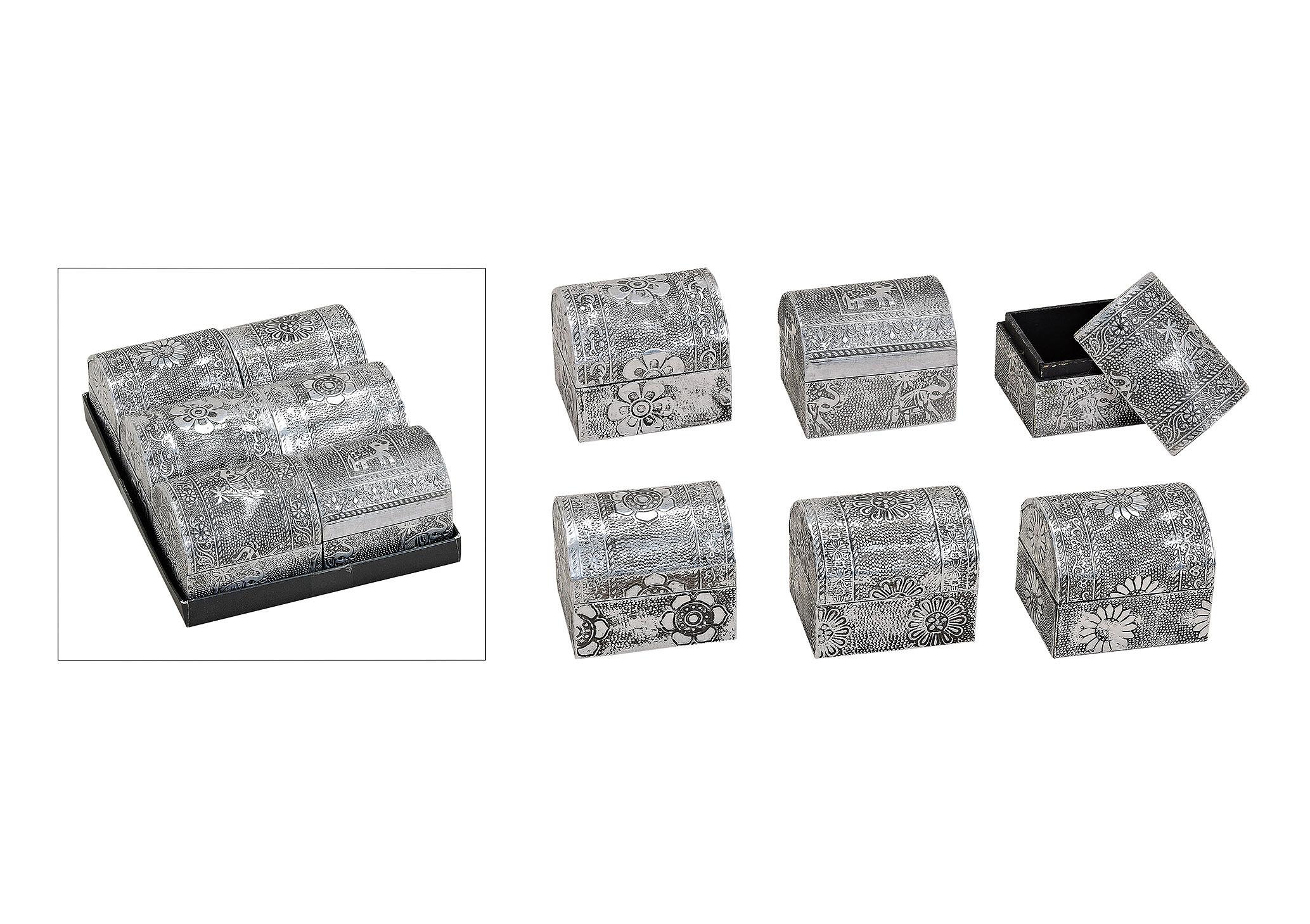 šperkovnice ORIENTAL 8x6x6 cm, kov a dřevo - 6 druhů