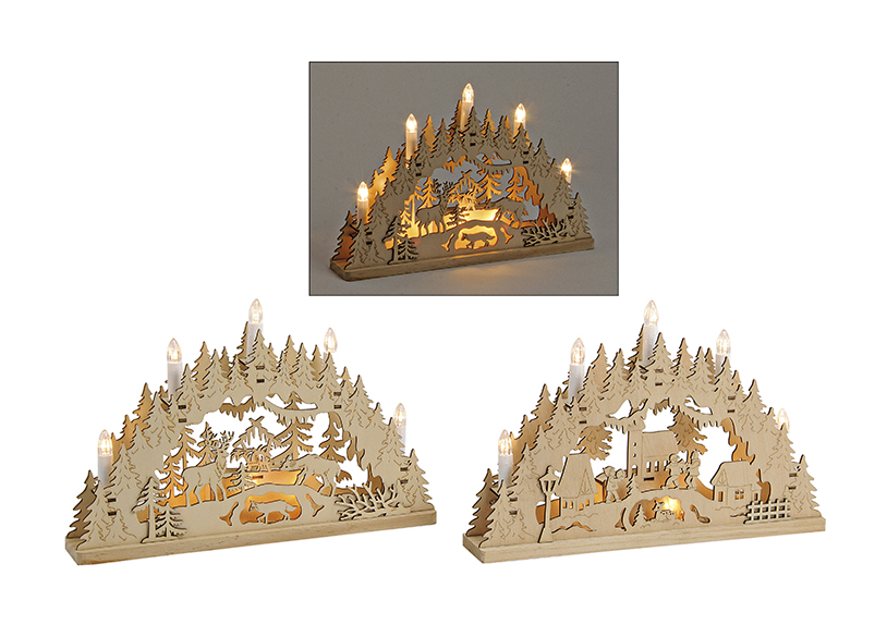 LIGHTING BRIDGE CHRISTMAS WOOD 2-ASS 35X6X24CM