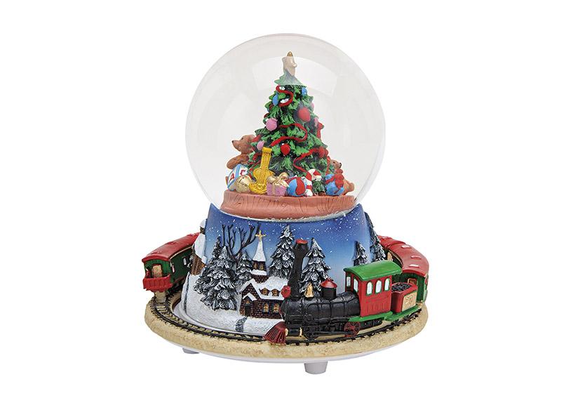 MUSIC BOX/SNOWGLOBE TRAIN POLY/GLASS 16X14 CM}