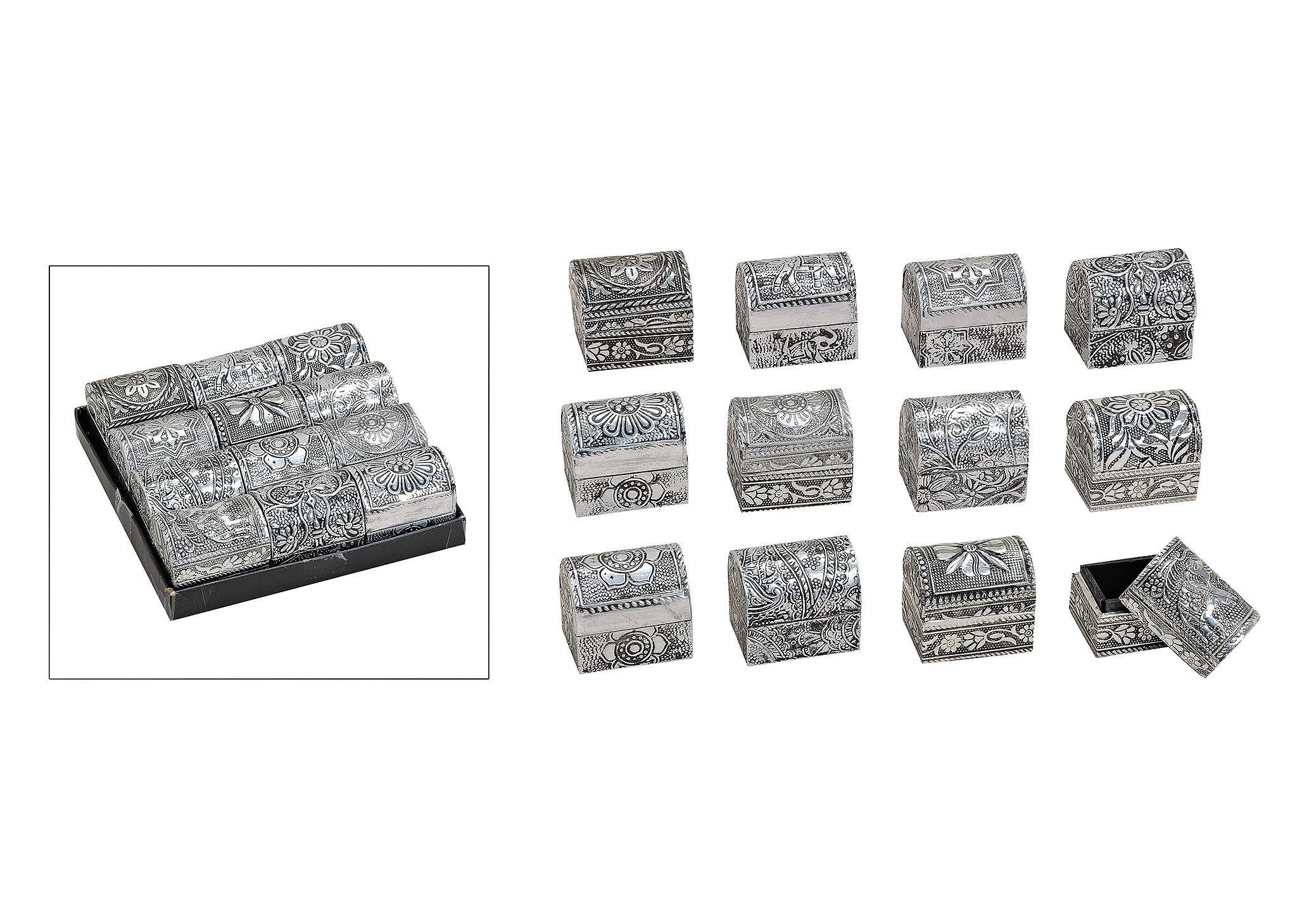 šperkovnice ORIENTAL 5x4x5 cm, kov a dřevo - 12 druhů