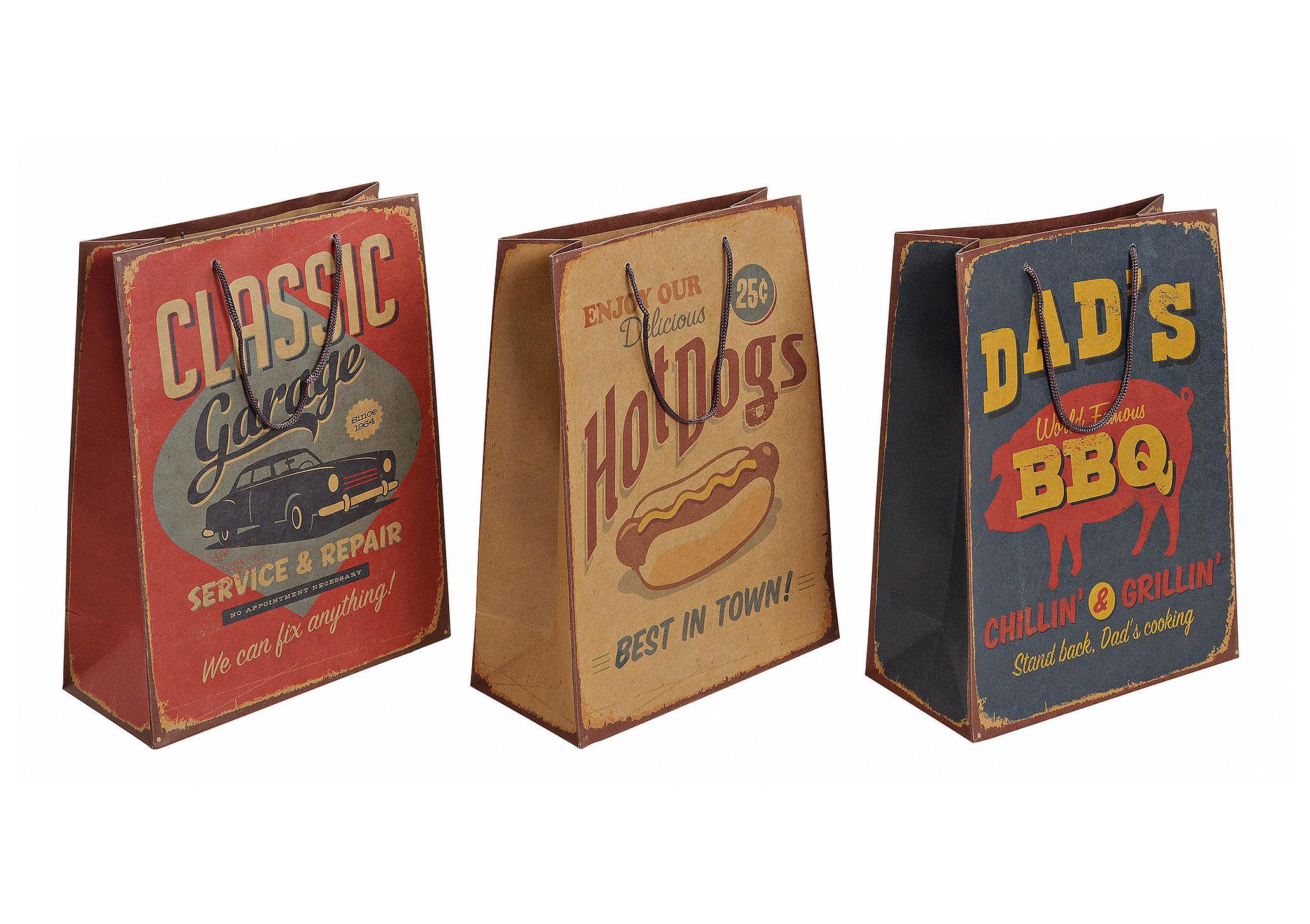 dárková taška VINTAGE 26x12x33 cm - 3 druhy