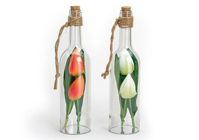 dvě skleněné lahve s tulipány 7x7x30 cm, sklo a plast