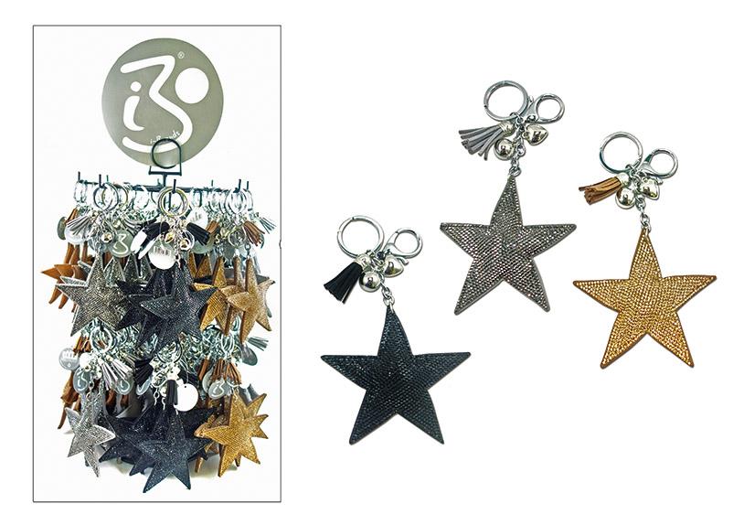 přívěšek na klíče STAR 5 cm, kov a plast - 3 druhy