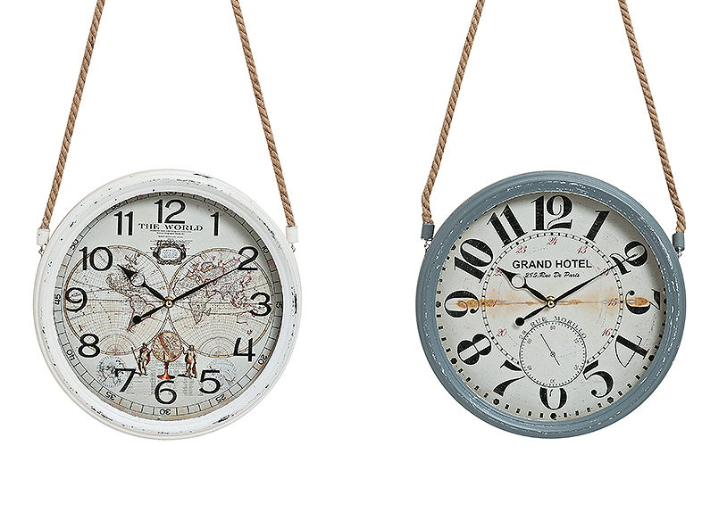 nástěnné hodiny VINTAGE 30 cm, kov a sklo - 2 druhy