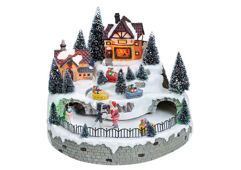 zimní vesnická scéna s osvětlením 25x25x19 cm, polyresin