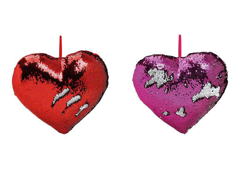 polštář s flitry HEART 35x10x35 cm - 2 druhy