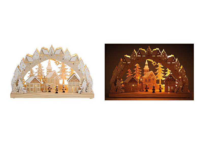 Lichts bow, church in winter forest design, with led lights, made of wood, beige color, with glitter 45x28x8cm