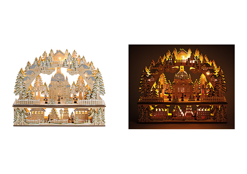 Lights bow, church with led lights, wood, beige color, with glitter, 45x37x10cm
