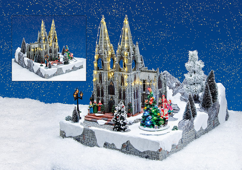 Winterscene Cologne Cathedral, with LED, music and movement, polyresin, (W/H/D) 38x40x52cm