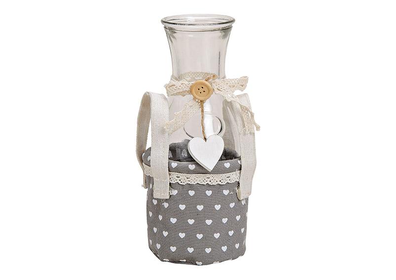 skleněná váza v textilním obalu 9x20x9 cm