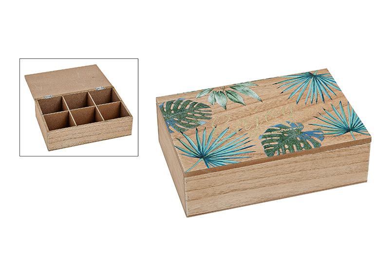 dřevěná krabička dělená TROPICAL LEAVES 23x7x15 cm
