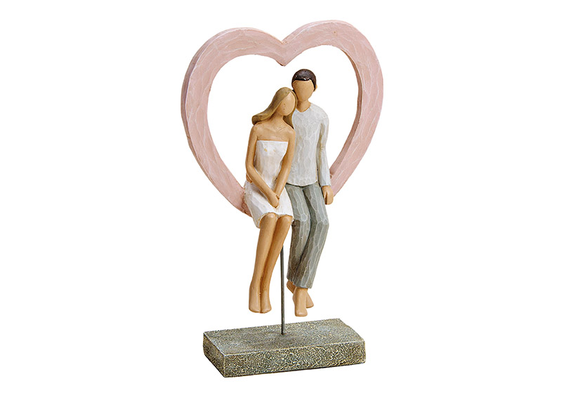 zamilovaný pár v srdci na podstavci 16x26x9 cm, polyresin