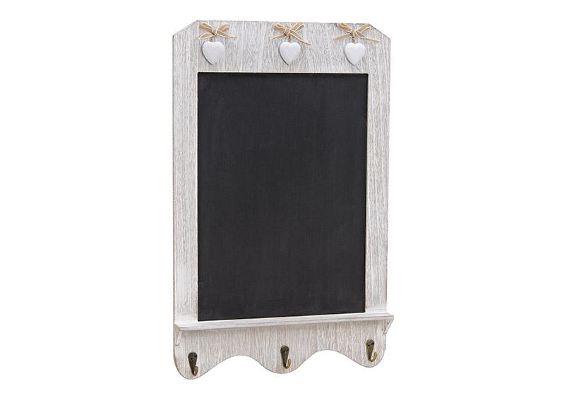 nástěnná dřevěná tabule s háčky HEARTS 33x52x4 cm