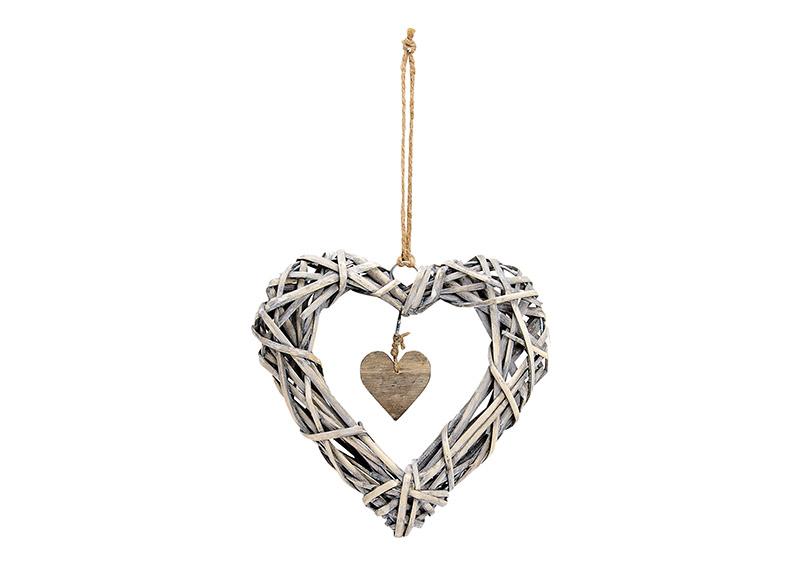 závěsné ratanové srdce 20x20x4 cm
