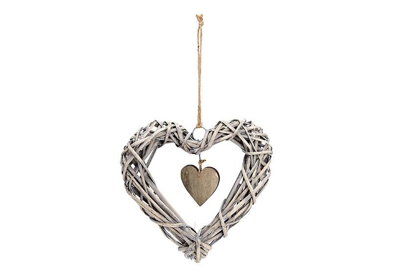 závěsné ratanové srdce 25x25x4 cm