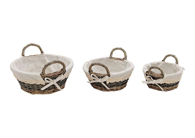 sada tří košíků s plátěným obalem 30x16x28 cm